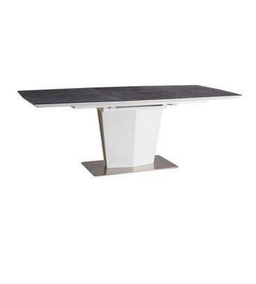 Stół rozkładany Signal Lazzio czarny kamień/biały 160x90