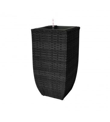 Donica technorattanowa z systemem nawadniania czarna 39 x 39 x 77 cm  MEVEN HOME&GARDEN