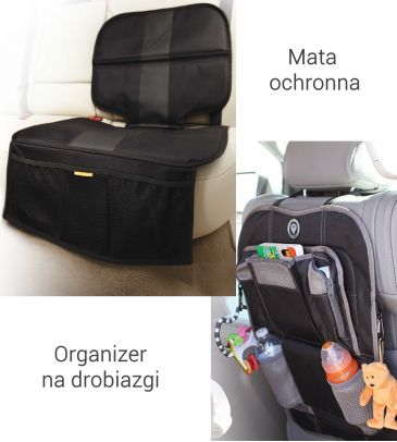 ZESTAW Prince Lionheart : Mata Seatsaver all-in-one 0583 + Backseat organiser black 0302