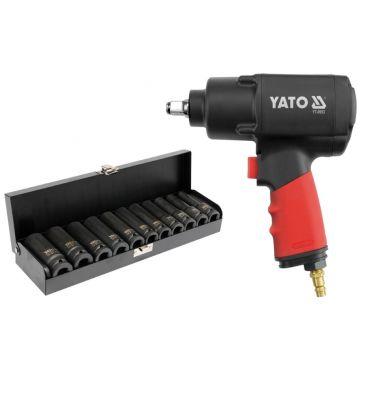 """Klucz udarowy pneumatyczny 1/2'' YATO YT-0953 + nasadki udarowe długie 1/2"""" 11 sztuk"""