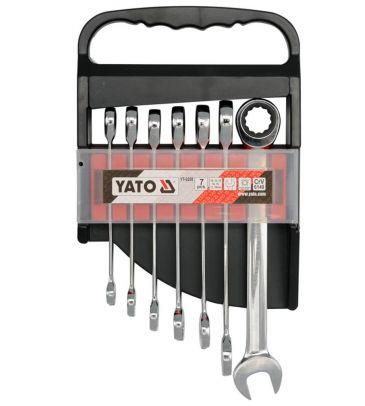 Zestaw kluczy płasko-oczkowych z grzechotką 7 el. YATO YT-0208