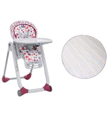 Zestaw: Krzesełko do karmienia Chicco Polly Progres5 cherry + Mata Prince Lionheart multi-use catchALL 2260