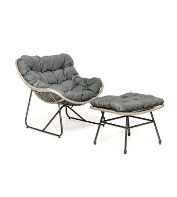 Fotel ogrodowy  z podnóżkiem SIESTA
