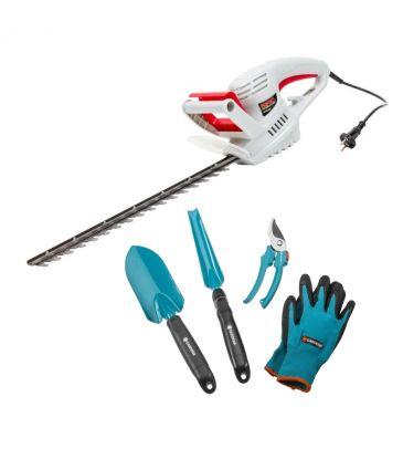 Nożyce elektryczne do żywopłotu NAC HE45-CH + zestaw narzędzi ogrodniczych