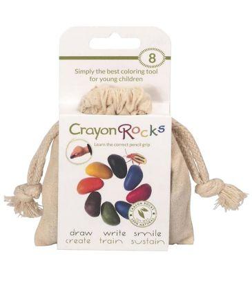 Kredki z wosku sojowego Crayon Rocks 8 kolorów bawełniany worek