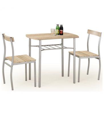 Zestaw stół + 2 krzesła Halmar Lance dąb sonoma
