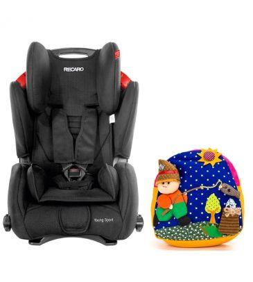 Fotelik samochodowy 9-36 kg Recaro Young Sport black + plecak COLE
