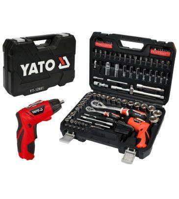 """Zestaw narzędziowy 1/4 i 1/2"""" 100 el. YATO YT-12685 z wkrętakiem akumulatorowym"""