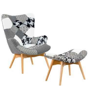 Fotel patchwork z podnóżkiem TDF Estiva 12