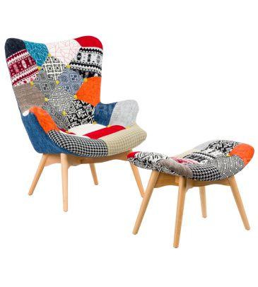 Fotel patchwork z podnóżkiem TDF Estiva 11
