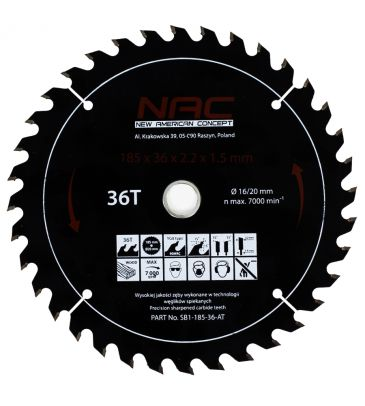 Tarcza widiowa do drewna NAC SB1-185-36-AT