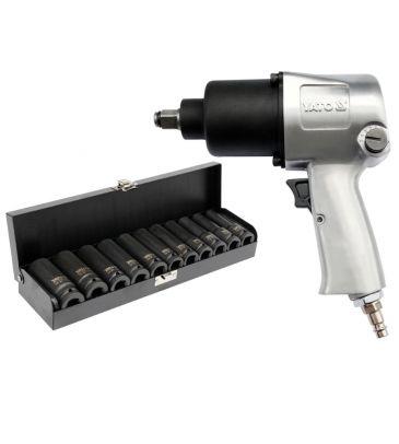 """Klucz pneumatyczny aluminiowy YATO YT-09511 + nasadki udarowe długie 1/2"""" 11 sztuk"""