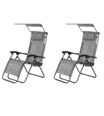 Zestaw 2 foteli ogrodowych Gravity z daszkiem i stolikiem
