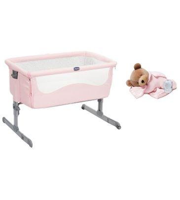 Zestaw: Łóżeczko turystyczne Chicco Next2Me french rose + Miś usypiacz Prince Lionheart Tummy Sleep 0015B pink
