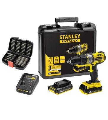 Zestaw: Wiertarko-wkrętarka akumulatorowa z udarem Stanley Fatmax FMC625D2 + bity DeWALT 32el