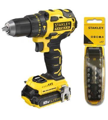 Wiertarko-wkrętarka akumulatorowa z udarem z silnikiem bezszczotkowym Stanley Fatmax FMC627D2 + zestaw bitów 17 el.