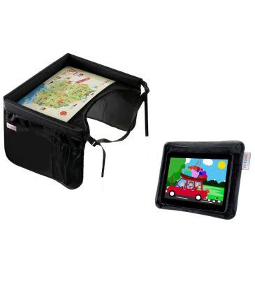 Zestaw: Bezpieczny stolik podróżnika Tuloko czarny + Uchwyt na tablet Tuloko czarny