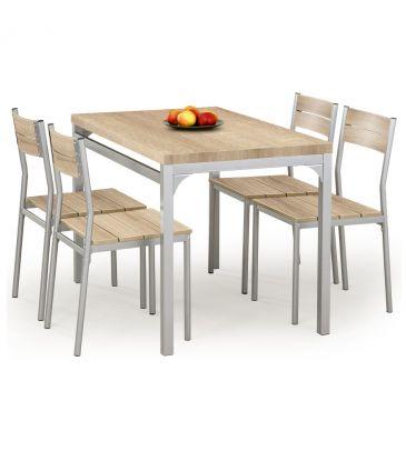 Zestaw stół + 4 krzesła Halmar Malcolm dąb sonoma