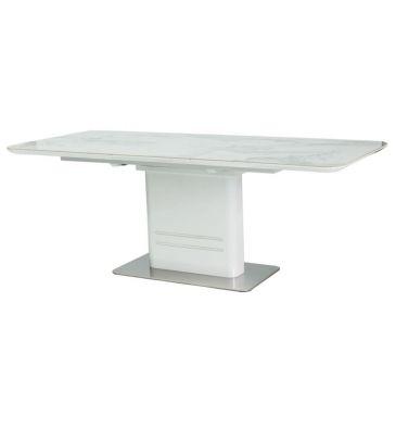 Stół rozkładany Signal Cartier Ceramic marmur/biały lakier 160x90