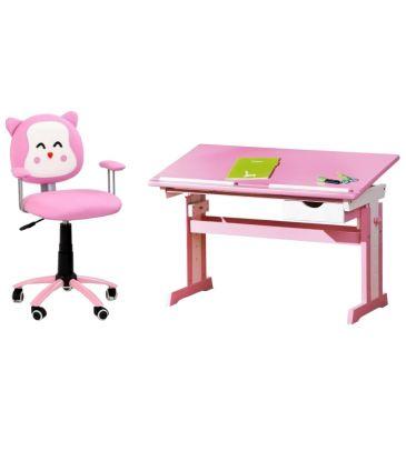Zestaw: Fotel obrotowy dziecięcy Halmar Kitty + Biurko dziecięce Halmar Cecilia biało/różowe