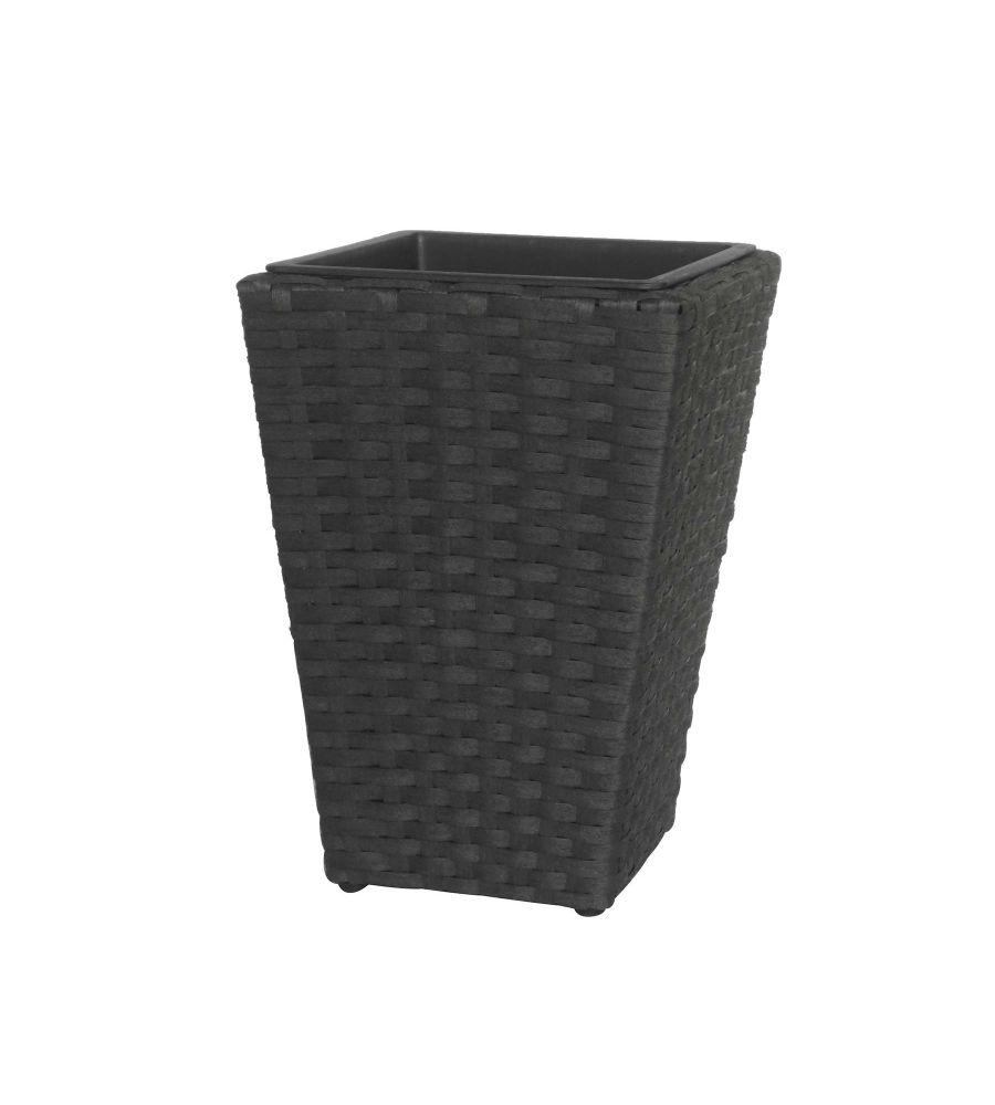 Donica technorattanowa czarna 28 x 28 x 40 cm   MEVEN HOME&GARDEN