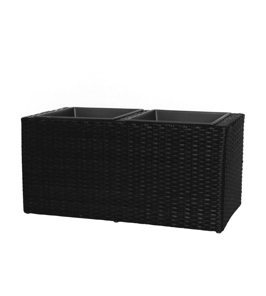 Donica technorattanowa czarna 80 x 36,5 x 38 cm MEVEN HOME&GARDEN