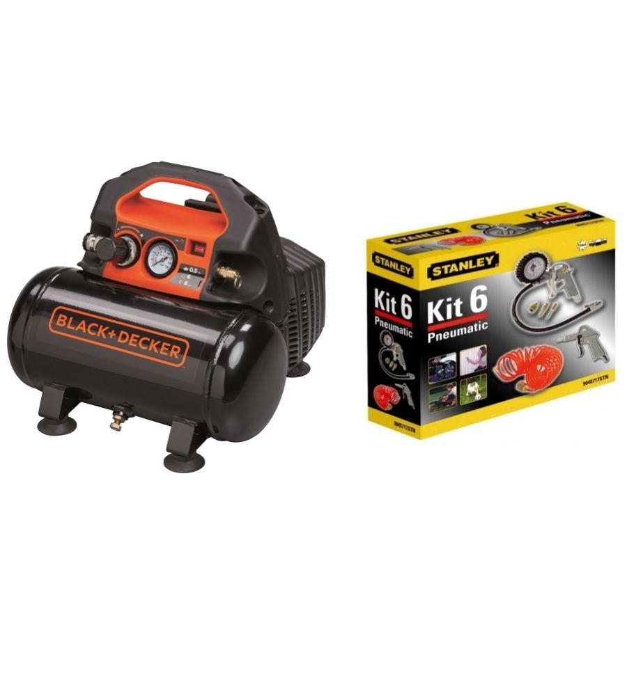 Kompresor bezolejowy 6L Black & Decker 8213295BND005 (BND305) PLUS z akcesoriami Stanley 6 elementów